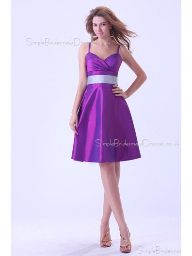 Sleeveless Ruffles/Sash Natural Zipper Knee-length Taffeta A-line Spaghetti-Straps Regency Bridesmaid Dress