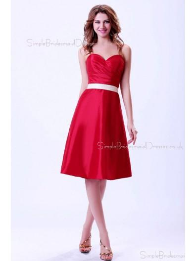 Sweetheart Natural Zipper Red Ruffles/Sash Taffeta A-line Sleeveless Knee-length Bridesmaid Dress
