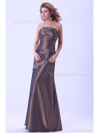 Brown Ruffles Natural Mermaid Floor-length Zipper Sleeveless Taffeta Strapless Bridesmaid Dress