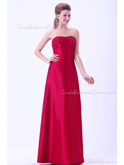 Ruffles/Sash Natural Sweetheart A-line Zipper Burgundy Floor-length Sleeveless Taffeta Bridesmaid Dress