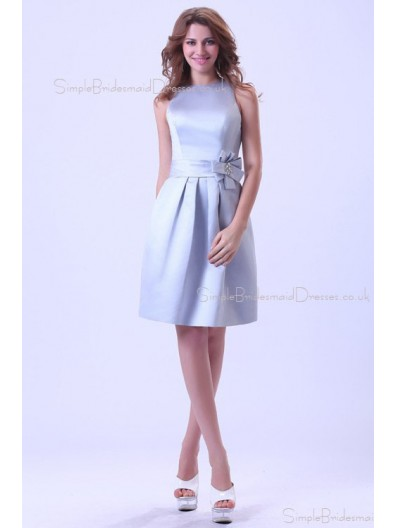 Ruffles/Sash Sleeveless Satin Scoop Silver Short-length Zipper A-line Natural Bridesmaid Dress
