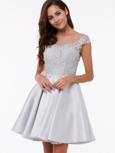 UK Vintage Short Matte Satin Neck Cap Sleeves Appliques Bridesmaid Dress