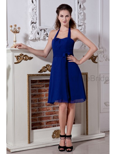Chiffon Roya-Blue Natural Knee-length Ruched/Bow Sleeveless Halter A-line Lace-up Bridesmaid Dress