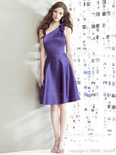 Zipper Floor-length regalia Natural Flowers Satin Sleeveless Regency One-Shoulder A-line Bridesmaid Dress