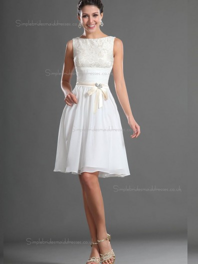 Best White knee length Bridesmaid Dress SBMD-E-1001