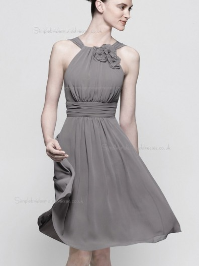 Discount beautiful Silver / Grey  Knee length / Short Lenght Bridesmaid Dress SBMD-E-1002