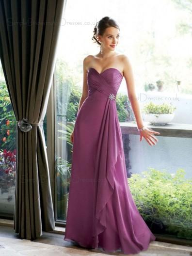 Hot Style Fuchsia Floor Length Bridesmaid Dress SBMD-E-1198