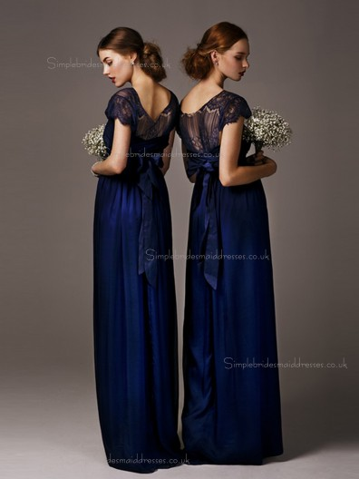 Luxury Stylish Lace Navy Floor Length Bridesmaid dresses
