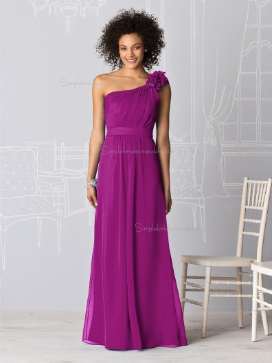 Cheap Stylish Persian Plum One Shoulder Floor Length Bridesmaid dresses