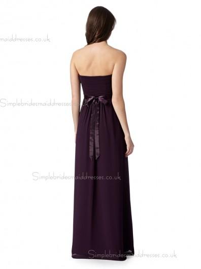 Debut beautiful Dark purple ruched maxi Bridesmaid Dress