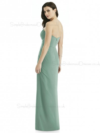 Designer Gorgeous Discount Lux Chiffon Long Seagrass A-line sweetheart Bridesmaid Dress