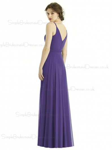 Amazing Regebcy Chiffon Long V neck Spaghetti Straps Zipper back Bridesmaid Dress