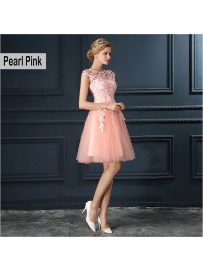 Short Pearl Pink Bridesmaid Dress 2018 Elegant A-Line Red Formal Party Dresses Evening Gown