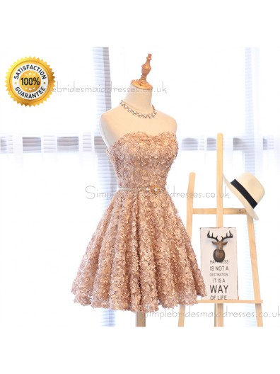 A-Line Sweetheart Short Bridesmaid Dress 2018 Sexy Backless Lace-Up Knee-Length Party Dresses Prom Dresses Real Photos