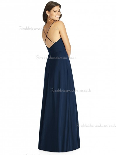 Beautiful Girls Dark Navy Floor Lengh Chiffon A line Bridesmaid Dress SBMD-J-1070