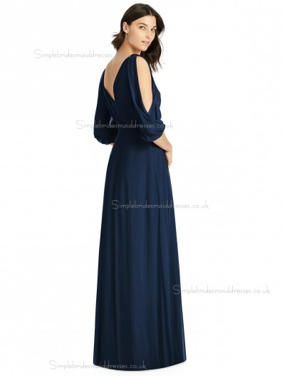 Long dark navy Chiffon Bridesmaid Dresses SBMD-J-1071