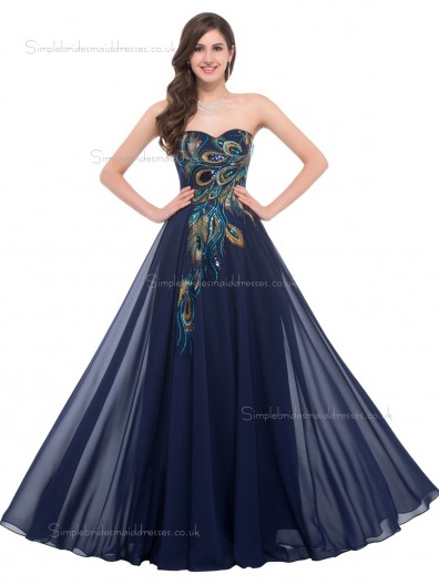 Hot Sale Elegant Sweetheart Peacock Chiffon Bridesmaid Dresses