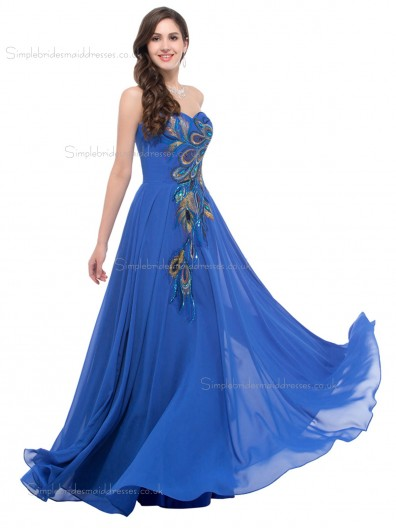 Hot Sale Elegant Sweetheart Peacock Chiffon Bridesmaid Dresses