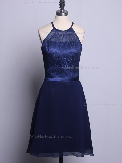 2016 UK Navy Chiffon Short  Bridesmaid Dresses with Lace Top