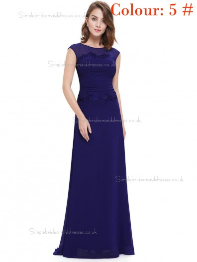 Royal Blue Online Amazing Round Neck Long Elegant Sexy Bridesmaid  Dress