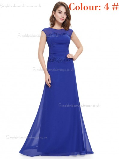 Blue Online Amazing Round Neck Long Elegant Sexy Bridesmaid  Dress