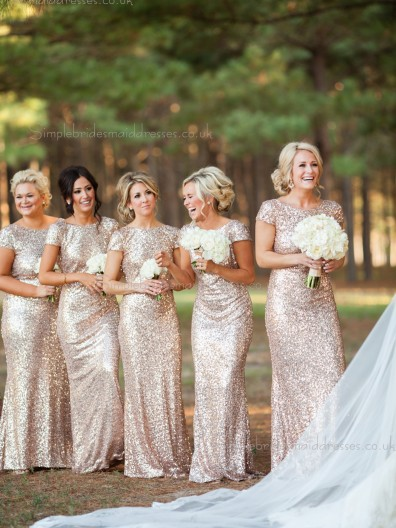 Hot Sale Sparkly Sequin Long Gold / Champagne / Rose Gold Bridesmaid Dress