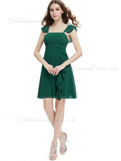 UK Online Girls Dark Geen short chiffon A line Bridesmaid Dress