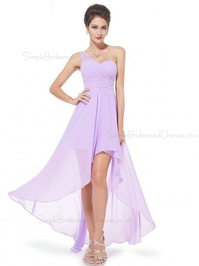 Beautiful Elegant Lilac Long Beading Chiffon Bridesmaid Dress