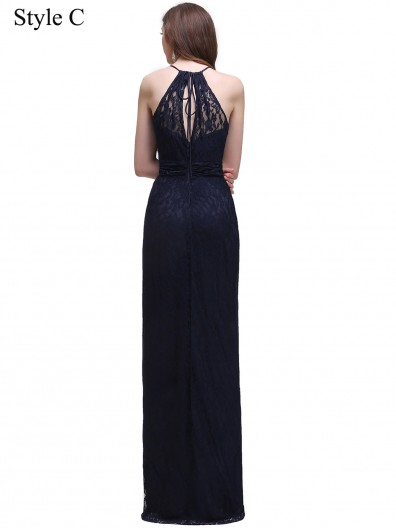 Cheap Amazing Navy Lace Floor-length Chiffon Bridesmaid Dress