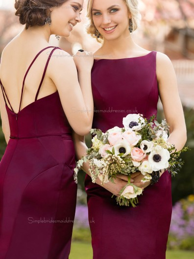 Classic Beautiful Girls Burgundy / Purple Satin Mermaid Long Bridesmaid Dress