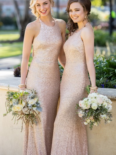 Beautiful Romantica High - Neck Sequins Rose Gold Wedding Bridesmaid Gown
