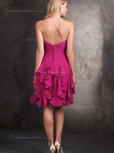 Sexy Short Fuchsia Sweetheart Pleat Ruffles Chiffon Bridesmaid Dress