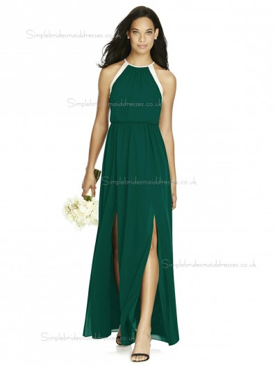 Cheap Amazing Natural Hunter Dark Green Long Chiffon A-line Bridesmaid Dresses