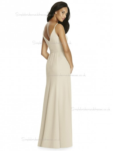 UK Girls Natural Champagne Floor-Length Chiffon Hand Made Flower Bridesmaid Dresses