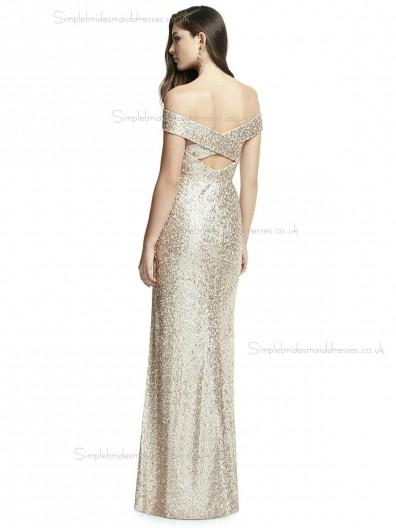 Elegant Girls Rose Gold Mermaid Flooor-length Studio Sequin Naturl Waist Off-the-shoulder Bridesmaid Dress