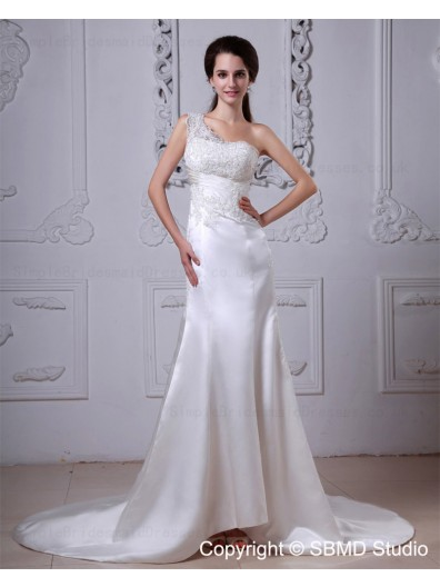 Satin Applique / Ruffles Dropped A-line One Shoulder Sleeveless Zipper Cathedral Ivory Wedding Dress