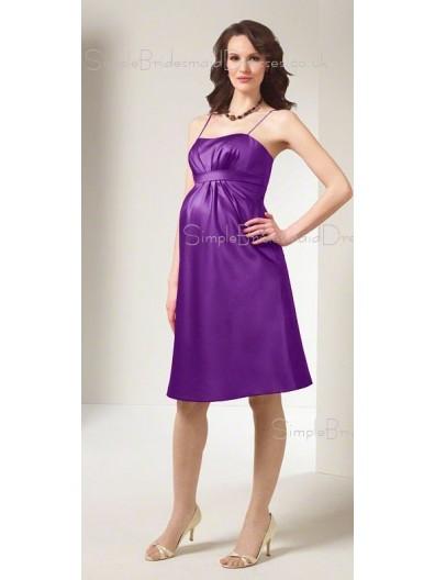 A-line Draped , Ruffles Satin Spaghetti straps Knee-length Purple Sleeveless Zipper Drop Maternity Bridesmaid Dresses