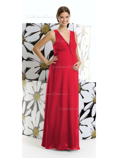 A-line  Draped , Ruffles Chiffon V-neck Floor-length Red Short Sleeve Zipper Natural Maternity Bridesmaid Dresses