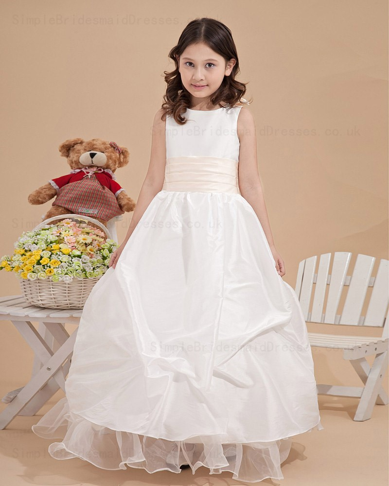 Cheap bateau ankle length applique white taffeta flower girl dress applique white ball gown taffeta bateau zipper ankle length sleeveless flower girl dress izmirmasajfo