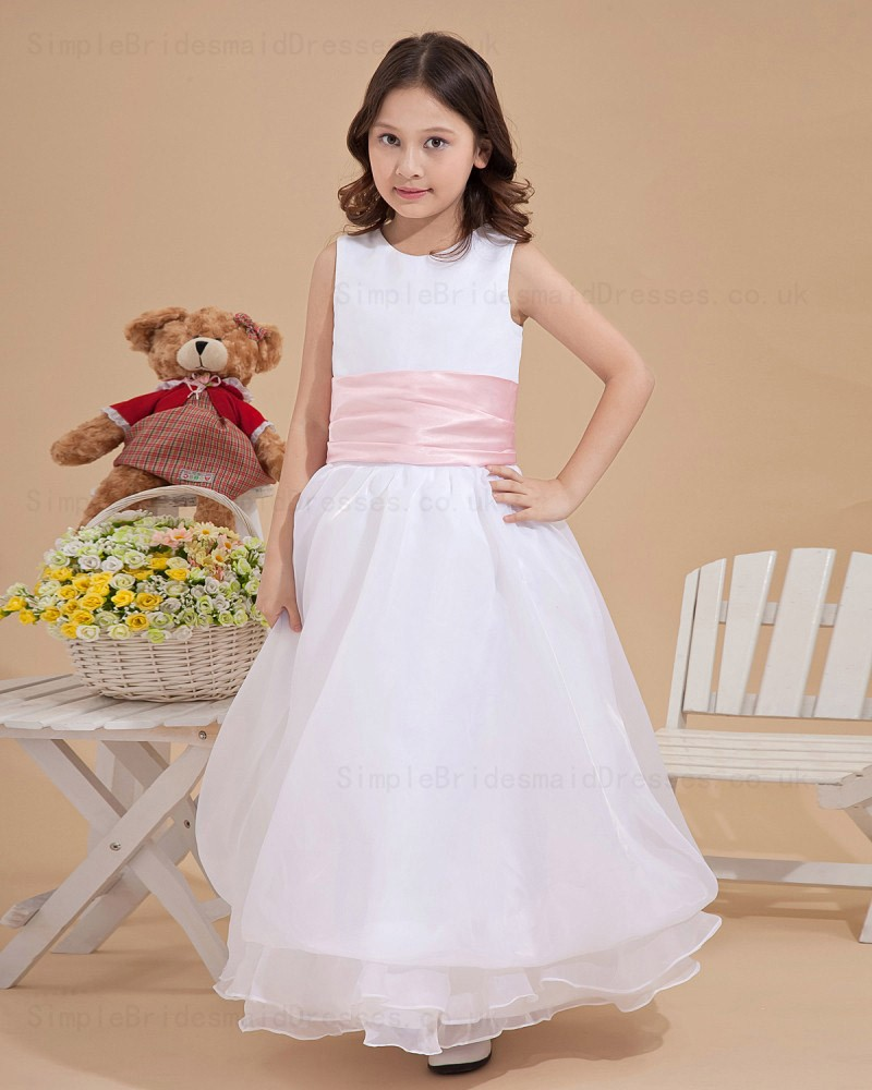 7d471318b10 A line Ankle Length Scoop Chiffon Organza Sleeveless Ivory Zipper Sash Flower  Girl Dress ...