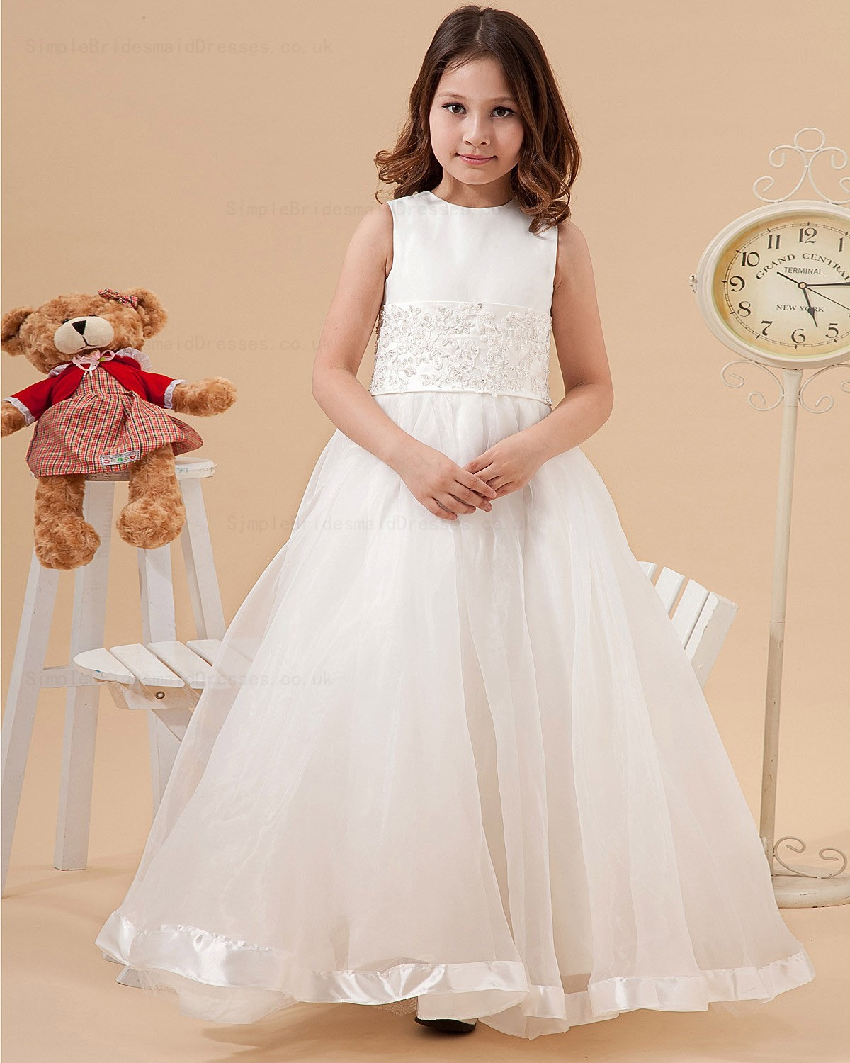 Cheap A line Scoop Sleeveless Floor length Organza Satin Flower Girl Dress