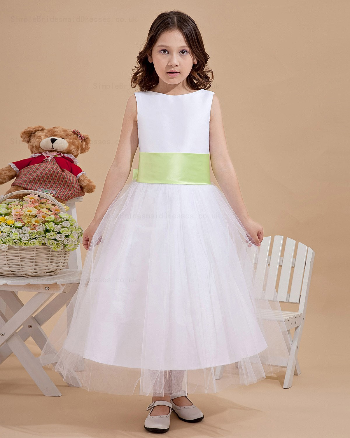 Cheap Ankle Length Bowbelt Satinorganza A Line Ivory Flower Girl