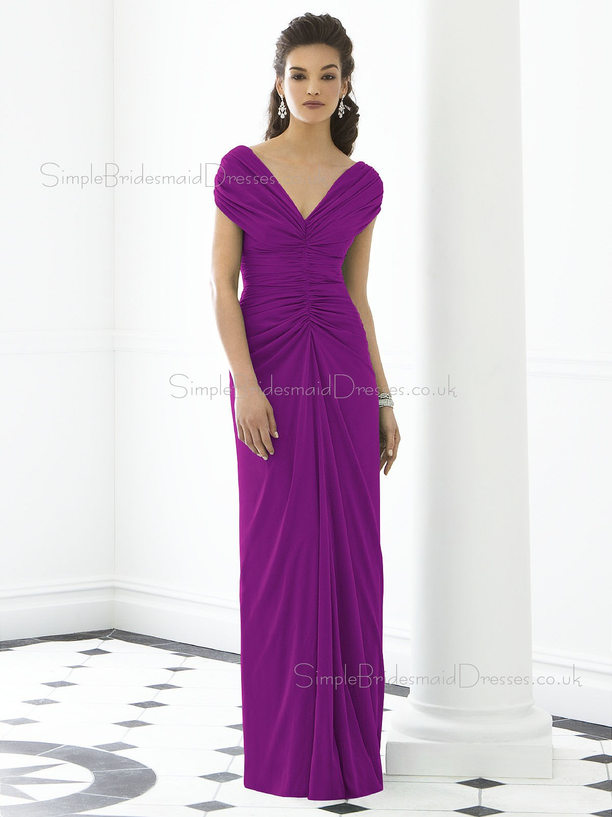 A-line Sleeveless Ruched-Ruffles One-Shoulder Purple Bridesmaid ...