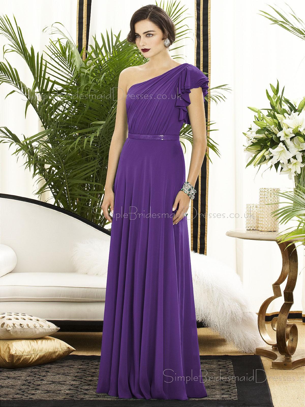 Floor-length A-line Chiffon Purple Ruched-Ruffles Bridesmaid Dresses ...