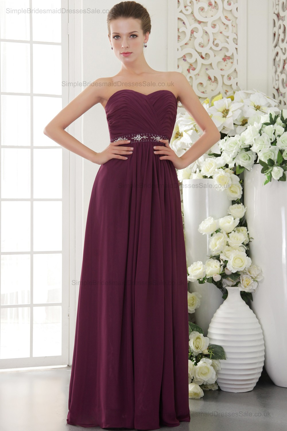 Burgundy natural sheath beading crystal ruffles ribbons for Sheath wedding dress with beading and side drape