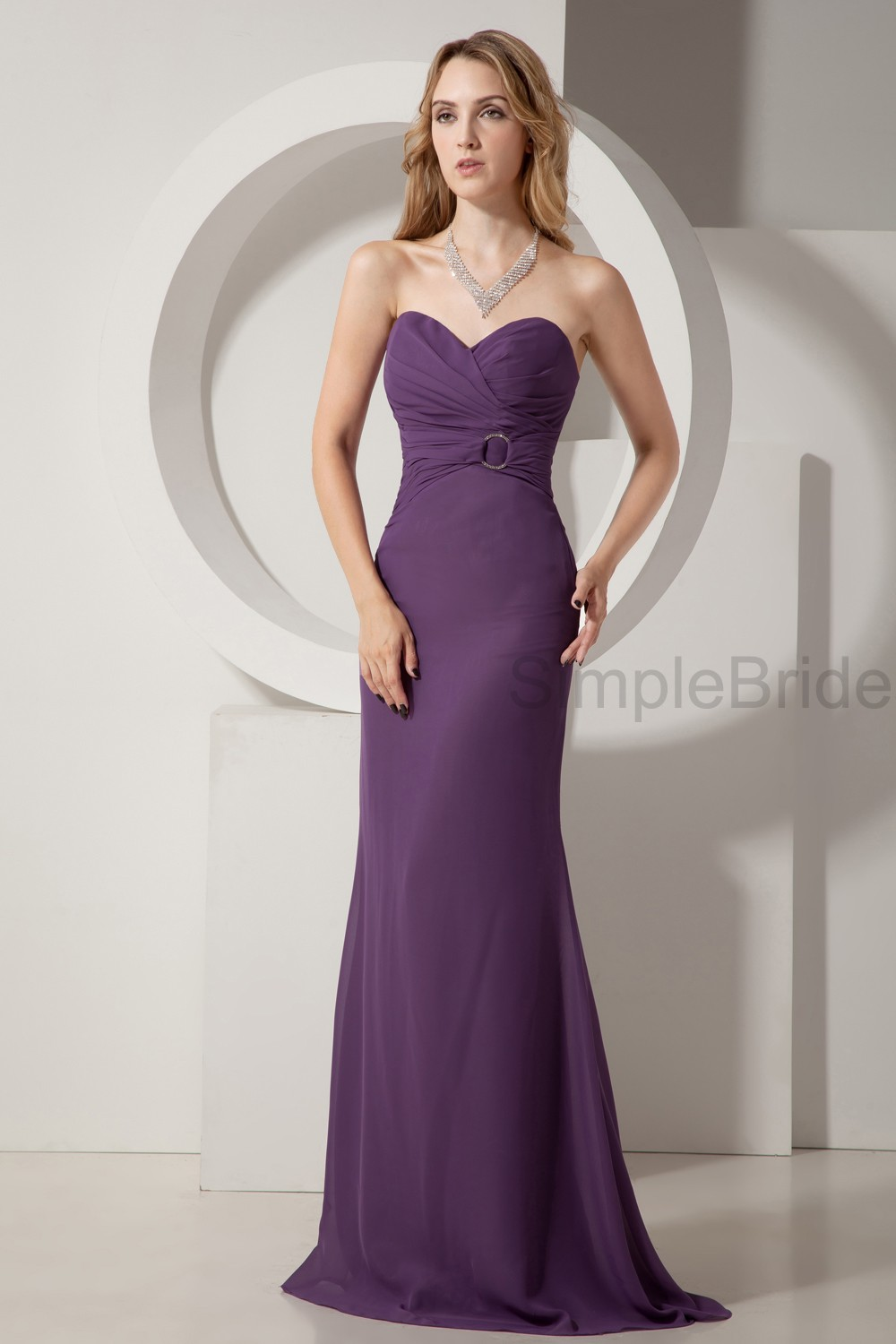 Sweetheart Grape A-line Natural Ruched Bridesmaid Dresses - (SBMD-B ...