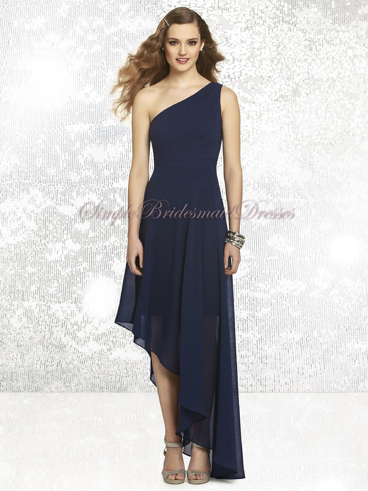 8b704a4f95 ... One-Shoulder Chiffon Bridesmaid Dress. Draped Dropped A-line midnight  Sleeveless Dark-Navy Floor-length Zipper One- ...