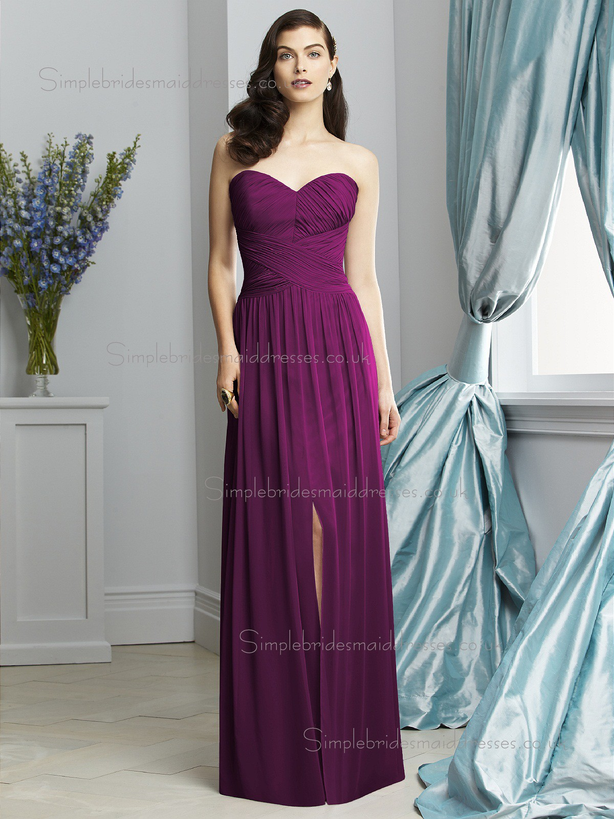 Wild Berry / Purple Chiffon Draped Natural Sleeveless Floor-length ...