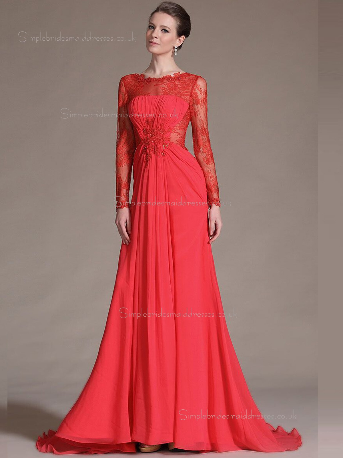 Buy uk red chiffon a line sweep empire bateau bridesmaid Red a line wedding dress