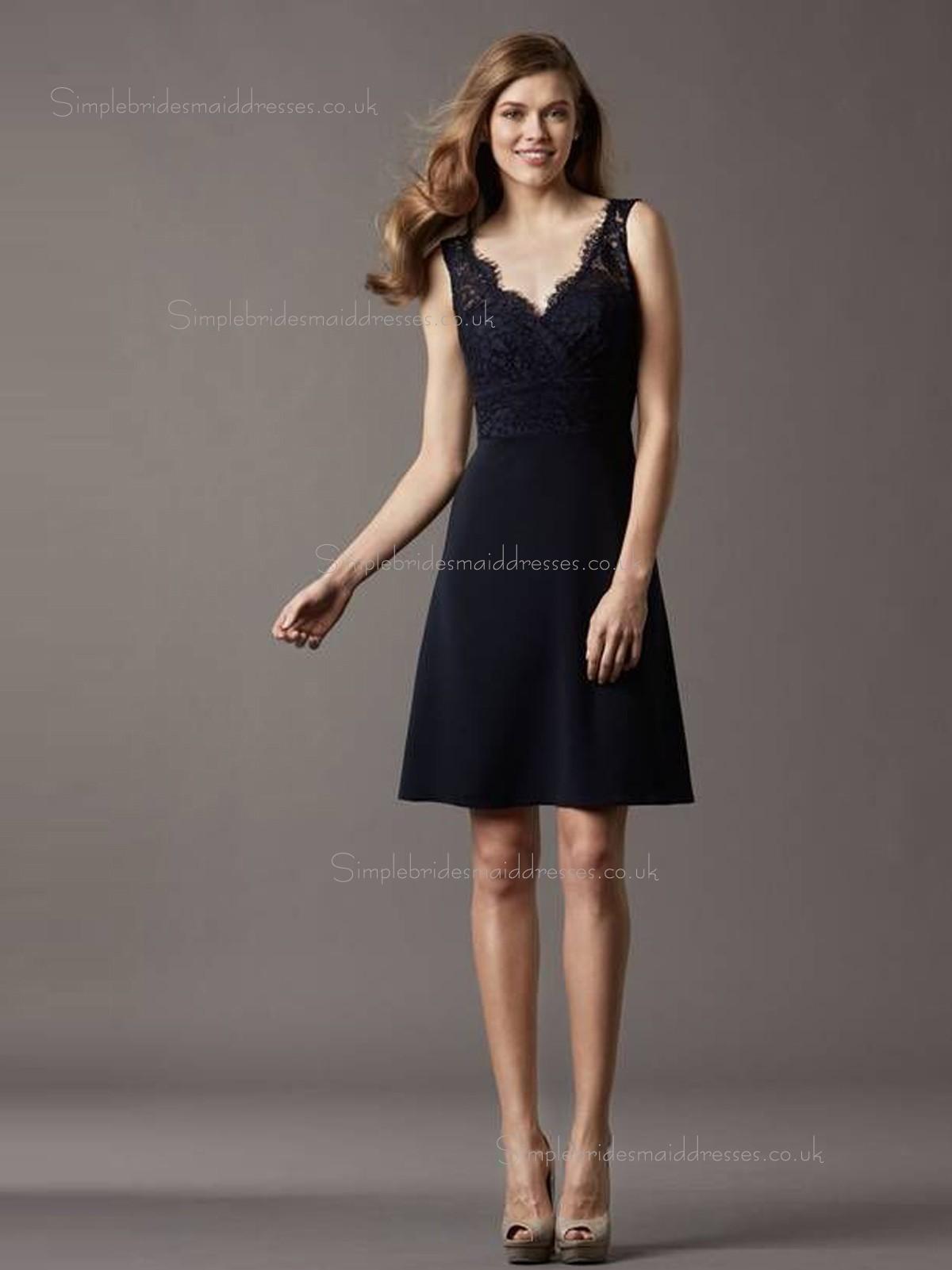 Buy UK Black Natural Short length Lace V neck A line